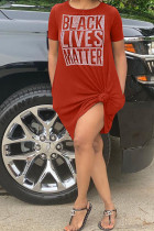 Red Casual Short Sleeves O neck Swagger Knee-Length Print Character Dresses