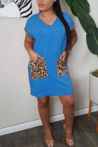 Light Blue Polyester Fashion adult Ma'am Sweet Cap Sleeve Short Sleeves V Neck Step Skirt Knee-Length Patchwork Solid Dresses
