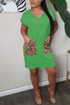 Green Polyester Fashion adult Ma'am Sweet Cap Sleeve Short Sleeves V Neck Step Skirt Knee-Length Patchwork Solid Dresses