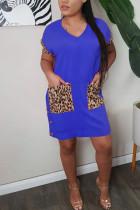 Blue Polyester Fashion adult Ma'am Sweet Cap Sleeve Short Sleeves V Neck Step Skirt Knee-Length Patchwork Solid Dresses