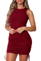 Red Cotton Sexy Tank Sleeveless O neck Step Skirt Mini Solid Dresses