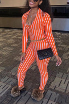 Orange Polyester Sexy Print pencil Long Sleeve Two Pieces