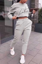Grey Polyester Casual Letter Print Solid Straight Long Sleeve Two Pieces