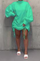 Green Fashion Sleeve Long Sleeves O neck Straight skirt bandage Dresses