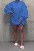 Blue Fashion Sleeve Long Sleeves O neck Straight skirt bandage Dresses
