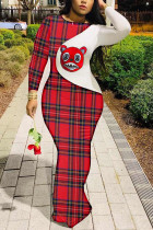 Red Polyester Fashion adult Ma'am OL Cap Sleeve Long Sleeves O neck Swagger Floor-Length Print Dresses