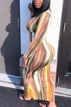 Multi-color Milk. Fashion adult England Ma'am Cap Sleeve Long Sleeves O neck Pencil Dress Ankle-Length Print Dresses