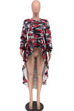 Blue Sweet Long Sleeves O neck Swagger Knee-Length Print Patchwork Leopard camouflage asymmetrical Dresses