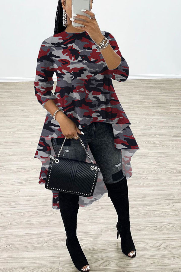 Red Sweet Long Sleeves O neck Swagger Knee-Length Print Patchwork Leopard camouflage asymmetrical Dresses
