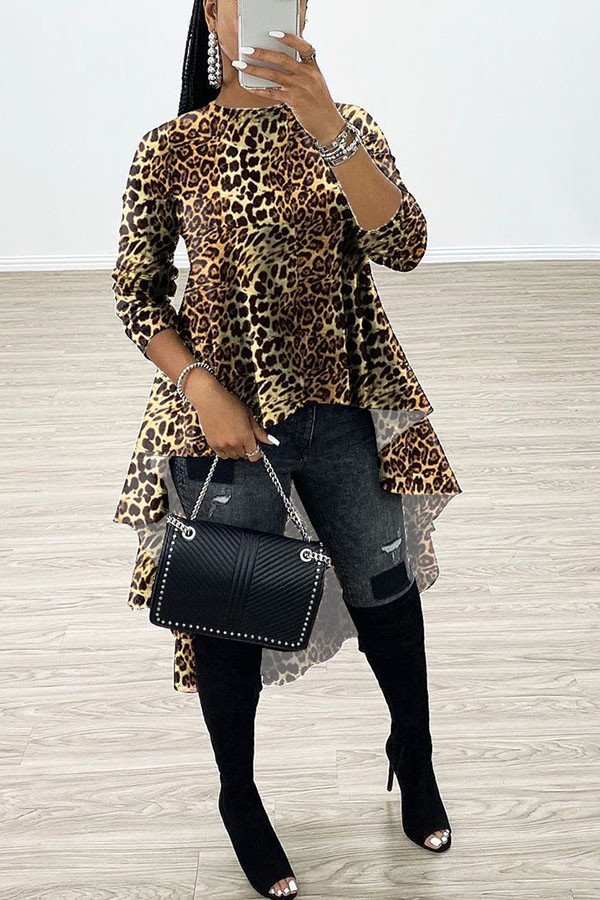 Leopard print Sweet Long Sleeves O neck Swagger Knee-Length Print Patchwork Leopard camouflage asymmetrical Dresses