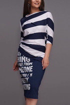 Navy Blue Cotton Fashion Casual adult Ma'am Striped Print Two Piece Suits Straight Half Sleeve Two Pieces