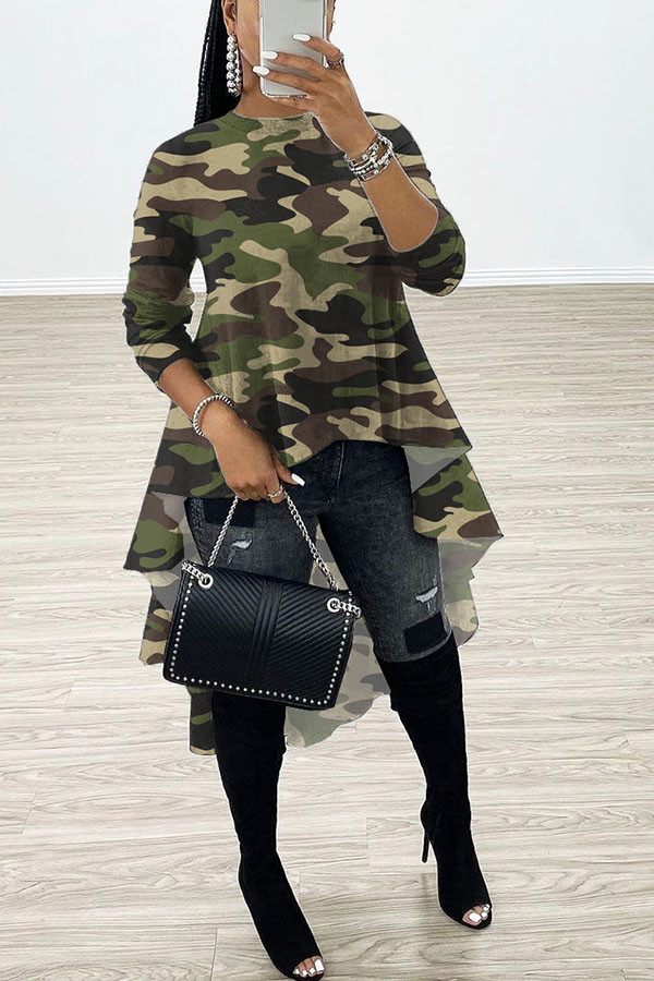 Green Sweet Long Sleeves O neck Swagger Knee-Length Print Patchwork Leopard camouflage asymmetrical Dresses