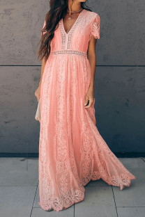 Pink Polyester Europe and America Sweet Short Sleeves V Neck Swagger Floor-Length Print lace Solid hollow out Dresses