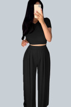 Black Casual Polyester Solid Split Joint O Neck Short Sleeve Short Two Pieces