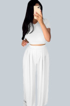 White Casual Polyester Solid Split Joint O Neck Short Sleeve Short Two Pieces