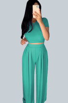 Green Casual Polyester Solid Split Joint O Neck Short Sleeve Short Two Pieces