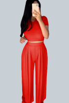 Red Casual Polyester Solid Split Joint O Neck Short Sleeve Short Two Pieces