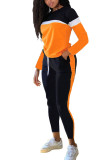 Blue Fashion Sportswear Adult Polyester Patchwork Solid Split Joint O Neck Long Sleeve Regular Sleeve Regular Two Pieces