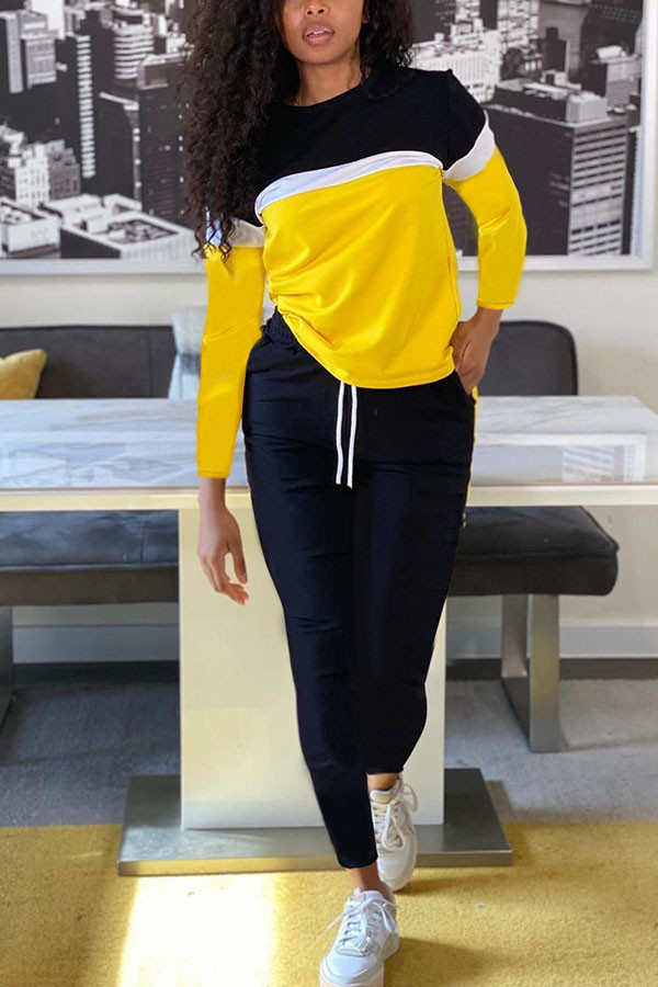 Yellow Fashion Sportswear Adult Polyester Patchwork Solid Split Joint O Neck Long Sleeve Regular Sleeve Regular Two Pieces