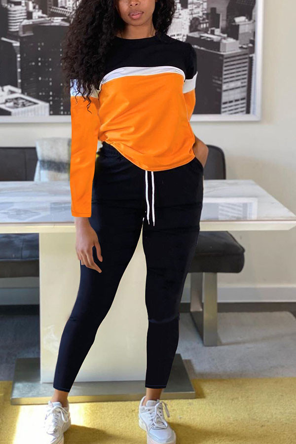 Orange Fashion Sportswear Adult Polyester Patchwork Solid Split Joint O Neck Long Sleeve Regular Sleeve Regular Two Pieces