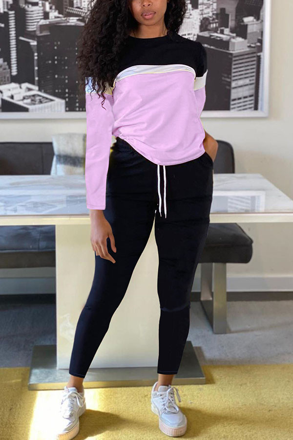 Light Pink Fashion Sportswear Adult Polyester Patchwork Solid Split Joint O Neck Long Sleeve Regular Sleeve Regular Two Pieces