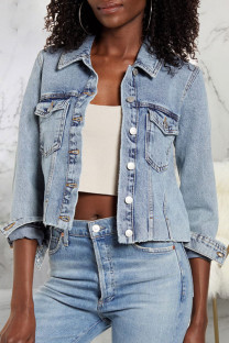 Blue Fashion Sexy Adult Denim Solid Make Old Turndown Collar Outerwear