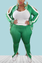 Green Casual Sportswear Polyester Knitting Striped Print Solid Pierced Hollowed Out Slit Zipper Collar Plus Size