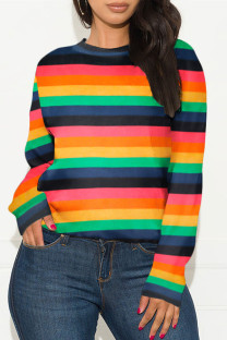 Stripe Fashion Casual Adult Polyester Striped O Neck TOPS