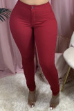 Wine Red Denim Zipper Fly Mid Solid washing pencil Pants Bottoms