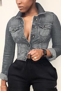 Grey Casual Solid Turndown Collar Outerwear