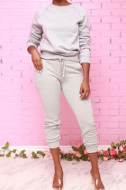 Grey Fashion Daily Adult Polyester Solid Draw String O Neck Long Sleeve Regular Sleeve Regular Two Pieces