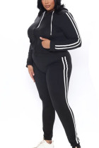 Black Casual Polyester Twilled Satin Solid Hooded Collar Long Sleeve Regular Sleeve Regular Two Pieces