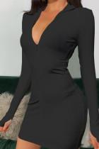 Black Sexy Cotton Polyester Solid Turndown Collar Long Sleeve Mini Pencil Skirt Dresses