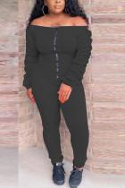 Black Casual Polyester Fiber Solid Fold Bateau Neck Skinny Jumpsuits