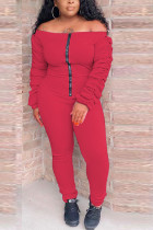 Red Casual Polyester Fiber Solid Fold Bateau Neck Skinny Jumpsuits