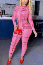 rose red Fashion Street Adult Polyester Geometric O Neck Skinny Jumpsuits
