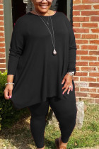 Black Sportswear Polyester Striped O Neck Plus Size