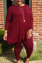 Wine Red Sportswear Polyester Striped O Neck Plus Size