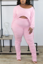 Pink Fashion Casual Patchwork Solid Split Joint Draw String Fold Pullovers Pants O Neck Long Sleeve Regular Sleeve Regular Two Pieces