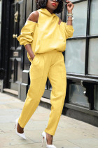 Yellow Fashion Casual Adult Polyester Solid Backless Hooded Collar Long Sleeve Off The Shoulder Two Pieces