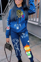 Colorful blue Fashion Casual Polyester Print Split Joint Hooded Collar Long Sleeve Regular Sleeve Regular Two Pieces