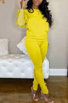 Yellow Fashion Casual Adult Polyester Solid Split Joint See-through O Neck Long Sleeve Hubble-Bubble Sleeve Regular Two Pieces