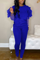 Blue Fashion Casual Adult Polyester Solid Split Joint See-through O Neck Long Sleeve Hubble-Bubble Sleeve Regular Two Pieces