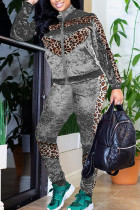 Silver Fashion Street Adult Polyester Patchwork Leopard Split Joint O Neck Long Sleeve Regular Sleeve Regular Two Pieces