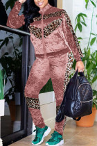 Pink Fashion Street Adult Polyester Patchwork Leopard Split Joint O Neck Long Sleeve Regular Sleeve Regular Two Pieces