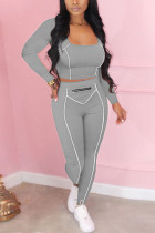 Grey Casual Sportswear Daily Polyester Fiber Striped Patchwork Print Solid Split Joint Metal Accessories Decoration Pullovers Pants Square Collar Long Sleeve Regular Sleeve Short Two Pieces