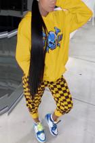Yellow Fashion Skull Head Plaid Print Draw String Hooded Collar Long Sleeve Cap Sleeve Regular Two Pieces
