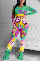 Green Fashion Sexy Adult Polyester Print Split Joint O Neck Long Sleeve Regular Sleeve Short Two Pieces