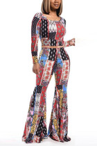 multicolor Casual Polyester Print O Neck Long Sleeve Regular Sleeve Short Two Pieces