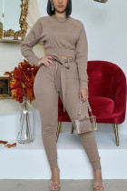 Khaki Fashion Casual Adult Polyester Solid Split Joint O Neck Long Sleeve Regular Sleeve Short Two Pieces